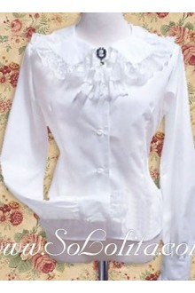 Lolita Lapel Lace Collar White Long Sleeves Cotton Blouse