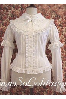 Lolita White Lace Trim Two Layers Sleeve Cotton Blouse