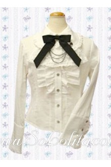 Lolita Black Bowtie Pleated Cotton Decoration White Blouse