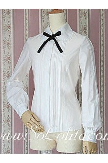 Lolita Black Bowtiw Long Sleeves White Pleated Cotton Blouse