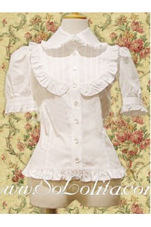 Lolita Short Puff Sleeves Pleated Border Cotton Blouse