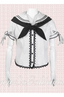 Lolita Student Style Personaity Tie Cotton Blouse