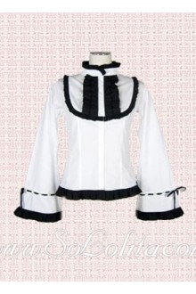 Lolita Trumpet Sleeves Stand Collar Cotton Blouse