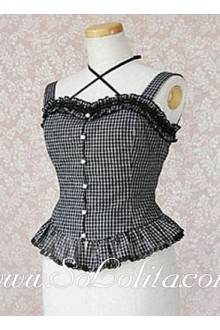 Lolita Black Plaid Straps Cotton Blouse