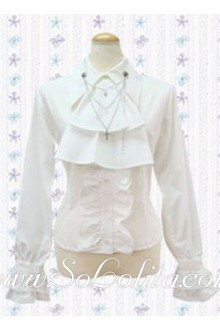 Lolita Pure White Personality Tie Long Sleeves Blouse