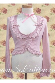Lolita Lovely Pink Ruffle Border Decoration Cotton Blouse