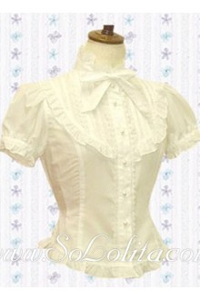 Lolita Bowtie Pleated Border Puff Sleeves White Blouse