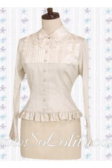 Lolita Bowtie LongSleeves Pleated Trim Cotton Blouse
