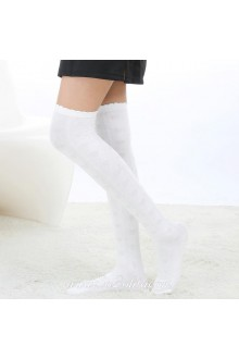 Cute Pop White Fashion Elegant Embossing Lolita Knee Stockings