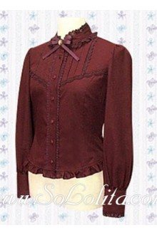 Lolita Red Long Sleeves Stand Collar Fashion Blouse