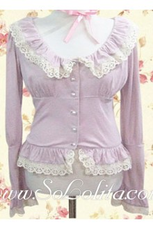 Lolita Sweet Pink Round Pleated Collar Cotton Blouse
