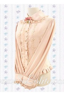 Lolita Lovely Pink Long Sleeves Golden Border Blouse