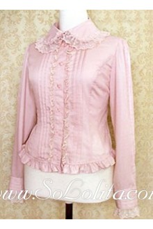Lolita Sweet Pink Lace Border Pleated Cotton Blouse