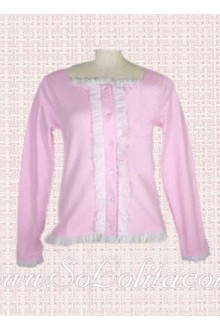 Lolita Sweet pink Square Collar Long Sleeves Blouse
