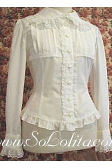 Lolita New Ruffle Trim Long Sleeve Pure White Blouse