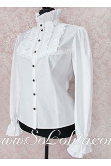 Lolita New Fashion Stand Collar White Cotton Blouse