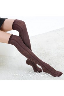 Cute Pop Brown Fashion Elegant Embossing Lolita Knee Stockings