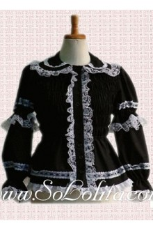 Lolita White Lace Trim Black Cotton New Arrival Blouse
