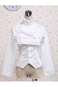 Lolita Stand Collar Complex Tie White Cotton  Blouse