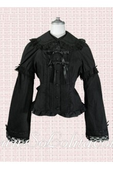 Lolita Black Two Layers Sleeves Bow Tie Cotton Blouse