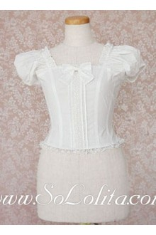 Lolita Sweet Puff Sleeves Bow Tie Pure White Blouse
