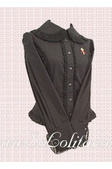 Lolita Black Lace Border Long Sleeves Cotton Blouse