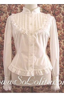 Lolita Lovely White Stand Collar Long Sleeves Blouse