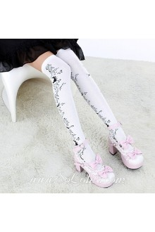 Cute Pop Fashion White Decorative Pattern Lolita Knee Stockings