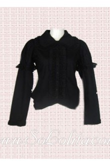 Lolita Black Lace Decoration Long Sleeves Cotton Blouse