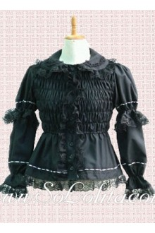Lolita Black Lace Border Ruffle Cotton Kawaii Blouse