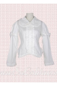 Lolita Lovely Lapel Collar Pure White Cotton Blouse