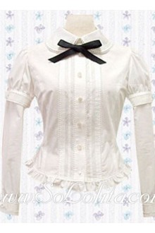 Lolita Black Bowties Long Sleeves White Cotton Blouse