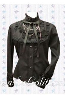 Lolita Bowtie Stand Collar Long Sleeves Cotton Blouse