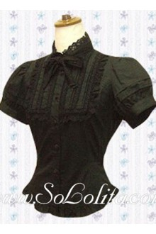 Lolita Lace Bowtie Stand Collar Puff Sleeves Blouse