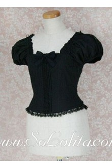 Lolita Lovely Black Square Bow Tie Corset Cotton Blouse