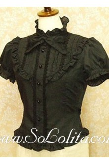 Lolita Lovely Black Bowtie Puff Sleeves Cotton Blouse