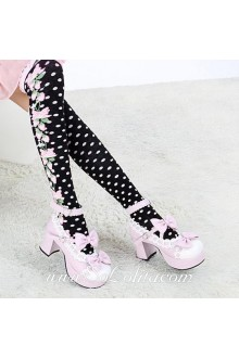 Cute Pop Fashion Pink Strawberry Dot Black Lolita Knee Stockings