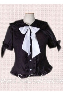 Lolita White Bowtie Puff Sleeves Black Cotton  Blouse