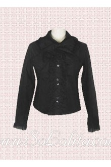 Lolita Black Long Sleeves Pleated Cotton Blouse