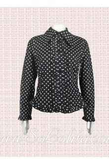 Lolita Black Polka Dots Long Sleeves Cotton Blouse
