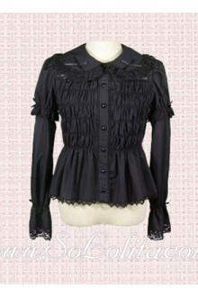 Lolita Lace Trim Black Pleated Cotton Blouse