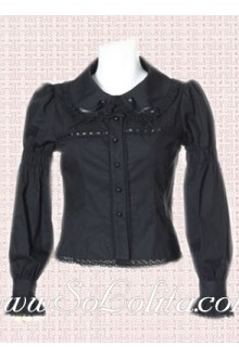 Lolita Simple Fashion Black Long Sleeves Cotton Blouse