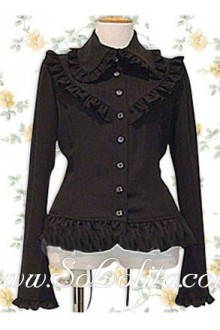 Lolita Black Pleated Border Decoration Cotton Blouse