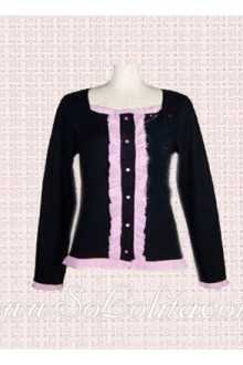 Lolita Square Collar Pink Lace Decoration Black Blouse