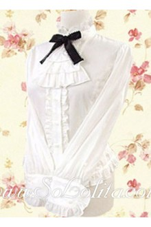 Lolita Lady Black Bowtie White Long Sleeves Blouse