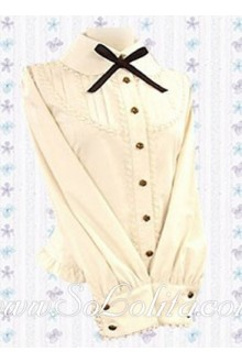Lolita Beige Bowtie Long Sleeves Lady Cotton Blouse