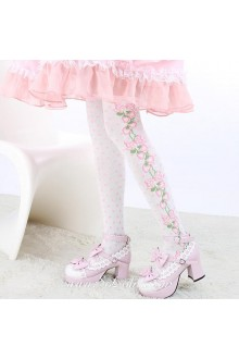 Cute Pop Fashion Pink Strawberry Dot White Lolita Knee Stockings