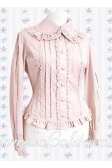 Lolita Sweet Pink Pleated Bordr Cotton Blouse