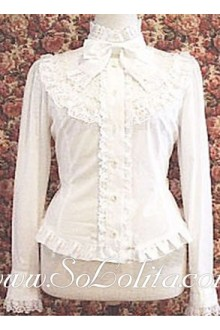 Lolita Sweet Pure White Bowtie Stand Collar  Blouse