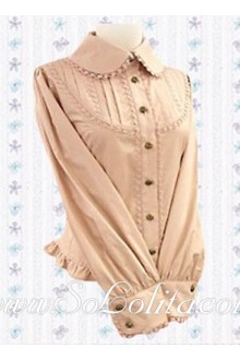 Lolita Sweet Lady Pink Long Sleeves Cotton Blouse